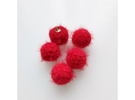 Подвеска вязаный шарик красный