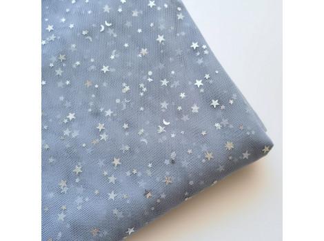 Фатин серебряные звездочки на пыльно-голубом
