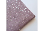 Фатин серебряные звездочки на лиловом