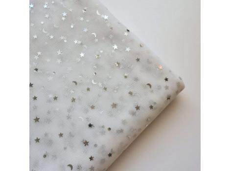 Фатин серебряные звездочки на белом