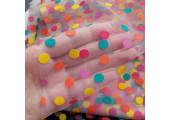 Фатин цветные горошки 1 см на молочно-белом