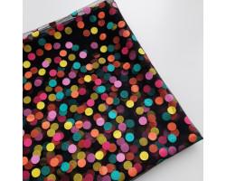 Фатин цветные горошки 1 см на черном