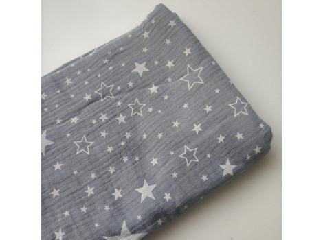 Хлопок муслин серый со звездочками