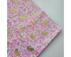 Хлопок Золотые птички на розовом