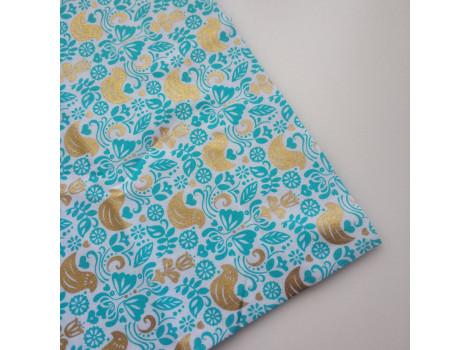 Хлопок Золотые птички на бирюзово-голубом