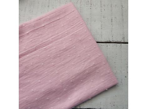 Хлопок батист горошки розовый