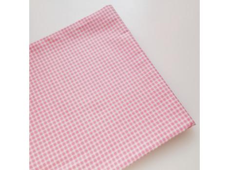 Хлопок в мелкую темно-розовую клеточку 3 мм