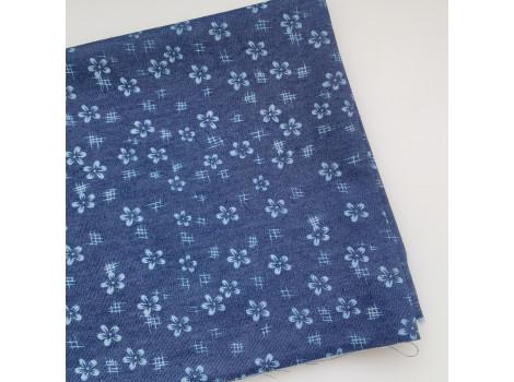 Джинса темно-синяя с белыми цветочками