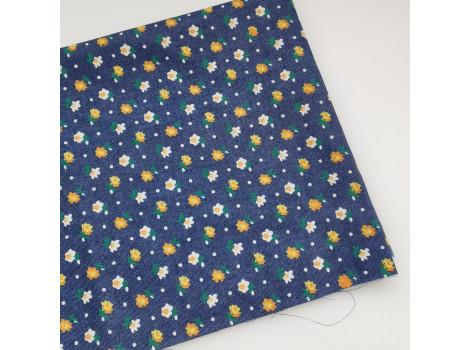 Джинса темно-синяя с желтыми цветочками