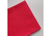 Хлопок с белыми горошками пшено 2 мм на красном