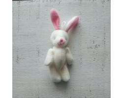 Игрушка плюшевый зайка малый белый с розовыми ушками