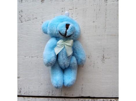 Игрушка мишка с бантиком голубой