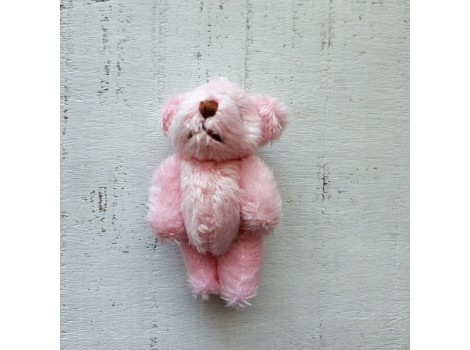 Игрушка плюшевый мишка малый 4 см розовый