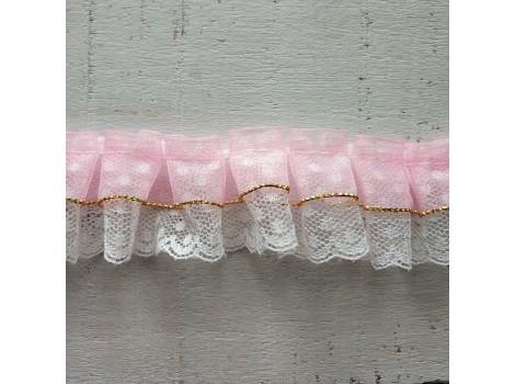 Рюша из органзы с кружевом розовая
