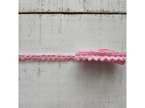 Хлопковое кружево зубчики розовое