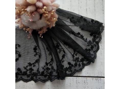 Кружево на сетке 16 см черное вьюнки