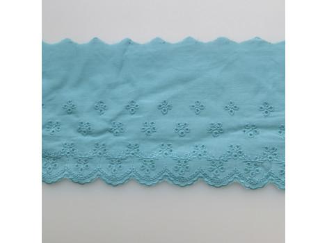 Кружево шитье с вышивкой мелкие цветочки 11.5 см темно-бирюзовое