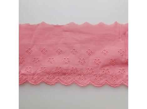 Кружево шитье с вышивкой мелкие цветочки 11.5 см розово-коралловое