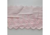 Кружево шитье с вышивкой цветочки вьюнки 11 см нежно-розовое