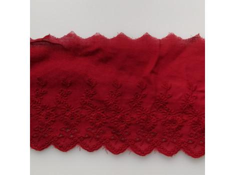 Кружево шитье с вышивкой цветочки вьюнки 11 см темно-красное