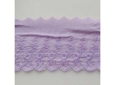 Кружево шитье с вышивкой цветочки вьюнки 11 см лавандовое