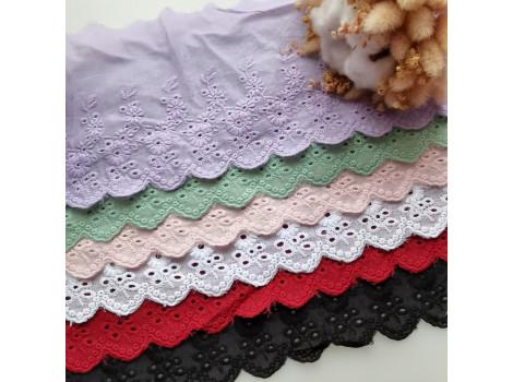 Кружево шитье с вышивкой цветочки вьюнки 11 см снежно-белое