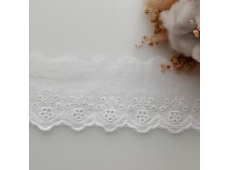 Кружево шитье с вышивкой с веточками и цветочками 6.5 см цвет теплый белый