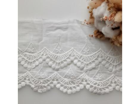 Кружево шитье с вышивкой двухярусное 15 см цвет теплый белый