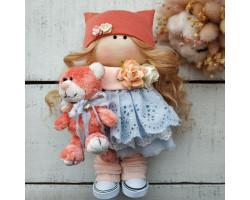 Интерьерная кукла с рыжим котиком