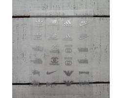 Термонаклейки Бренды №1 серебристые надписи