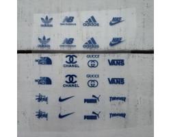Термонаклейки Бренды №1 синие надписи
