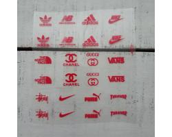 Термонаклейки Бренды №1 красные надписи