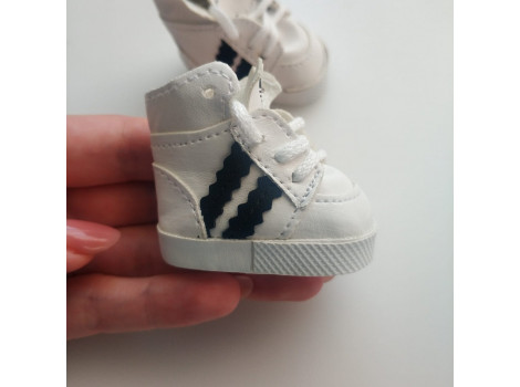 Кроссовки для кукол Adidas 5 см белые с черным