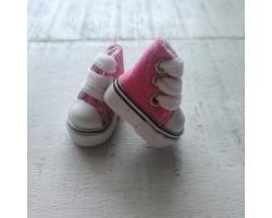 Кеды на шнурках 3.5 см ярко-розовые