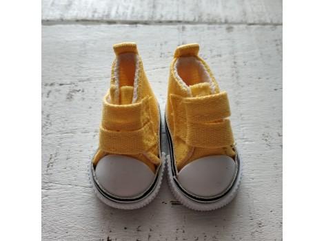 Кеды на липучке 5 см желтые
