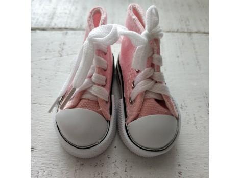 Кеды на шнурках 7 см розовые