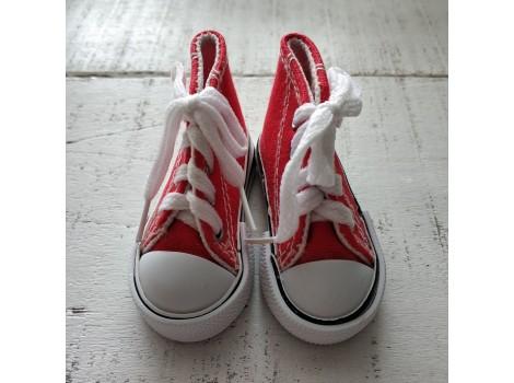 Кеды на шнурках 7 см красные