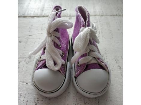 Кеды на шнурках 7 см сиреневые