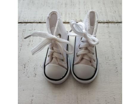 Кеды на шнурках 7 см белые