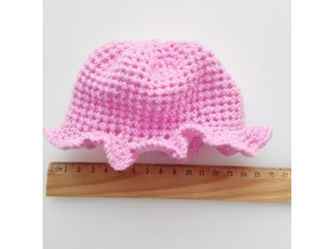Вязаная шапочка-панамка нежно-розовая