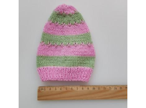 Шапочка колпак нежно-розово-зеленый (вариант 2)