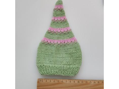 Шапочка колпак нежно-розово-зеленый (вариант 4)