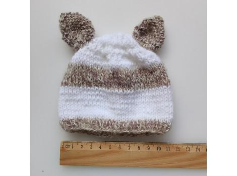Вязаная шапочка бело-серая с ушками