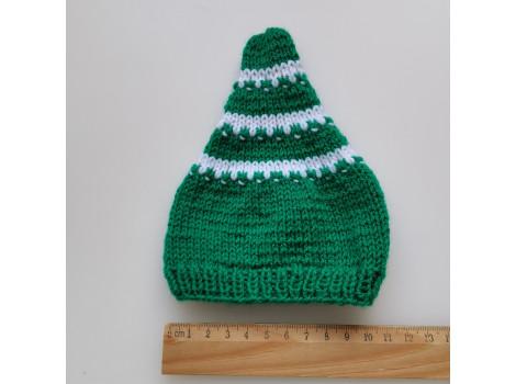 Вязаная шапочка колпак зеленый с белыми полосками