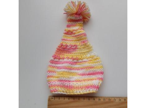 Вязаная шапочка колпак бело-желто-розовый с помпоном