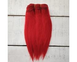 Трессы козочка натуральные прямые красные №14 цена за 1 м