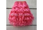 Трессы козочка натуральные кудрявые  розовый Барби №16 цена за 0.5 м