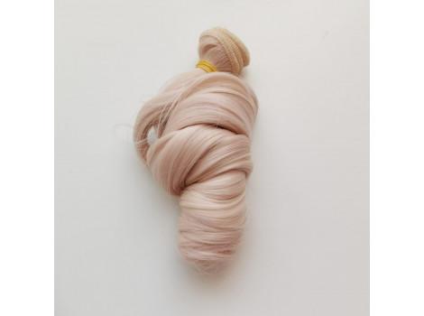 Трессы крупный локон розовые с мелированием блонд №613/T2334