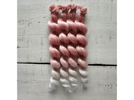 Трессы спиральки цветные темно-розовые омбре