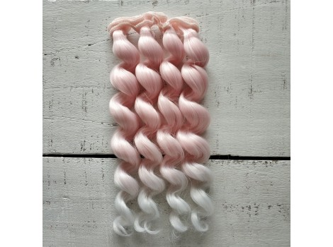 Трессы спиральки цветные светло-розовые омбре